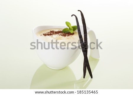 Delicious vanilla pudding still life. Luxurious sweet dessert eating.  - stock photo
