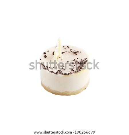 Delicious vanilla souffle cake isolated on white - stock photo