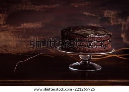 Delicious vegan chocolate cake. Selective focus. - stock photo