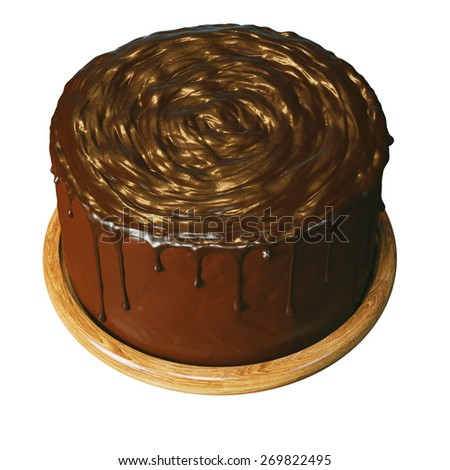 Delicious vegan super chocolate cake on beautiful wooden stands. Isolated on white background top view version. - stock photo