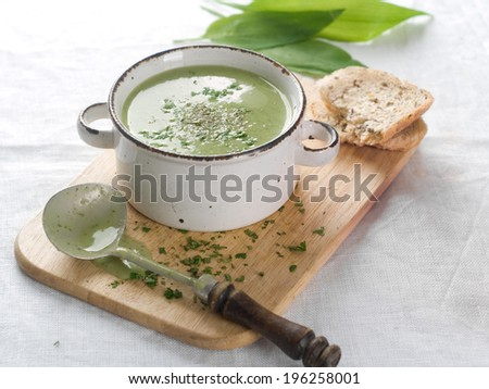 Delicious vegetable cream soup with broccoli and parsley, selective focus - stock photo