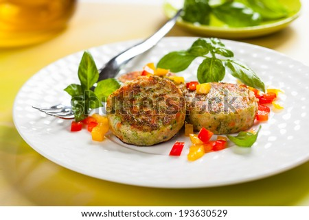 delicious vegetable cutlets with carrot,potato and broccoli - stock photo