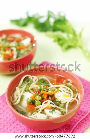 Delicious vegetable stew with pasta - stock photo