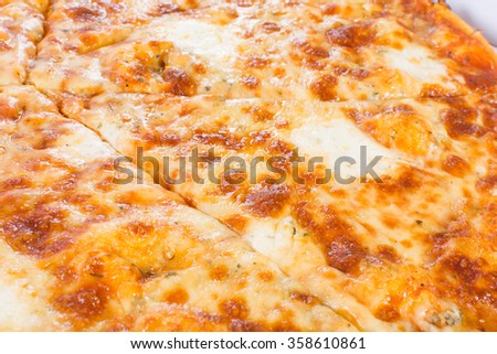 Delicious vegetarian pizza with gouda and blue cheese - stock photo