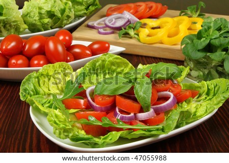 Delicious vegetarian salads with tomatos, onion, frisee lettuce