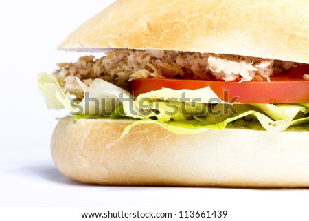Delicious vegetarian sandwich with tuna and tomato