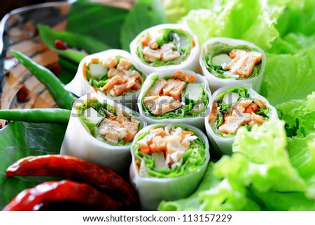 Delicious vietnamese spring roll with vegetable and chili - stock photo