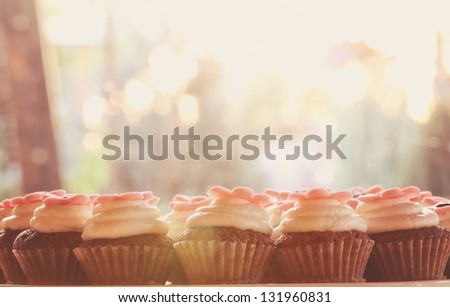 Delicious vintage cupcakes in sunlight - stock photo