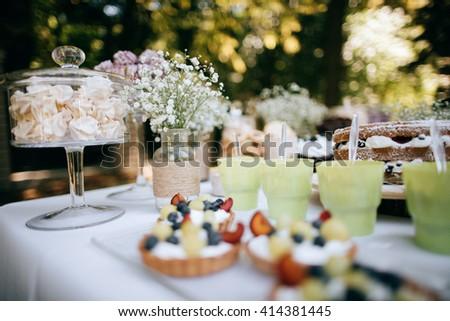 Delicious Wedding Reception Candy Bar Dessert Table For A Outdoor Party Ombre Cake