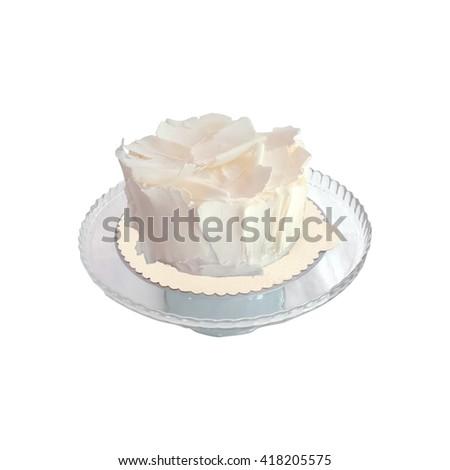 Delicious white chocolate cake on a white background - stock photo
