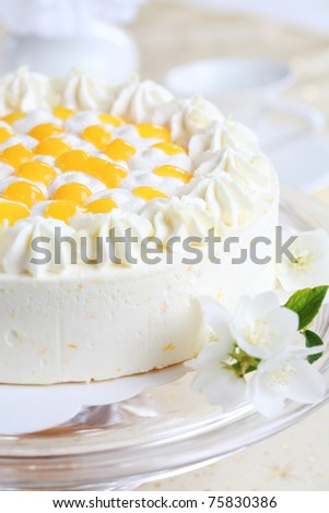 Delicious yogurt cake with oranges and cream - stock photo