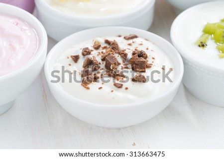 delicious yogurt with chocolate, close-up