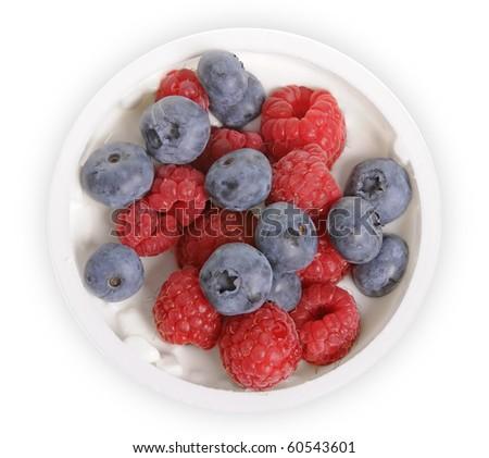 Delicious yogurt with fresh fruit isolated on white background - stock photo