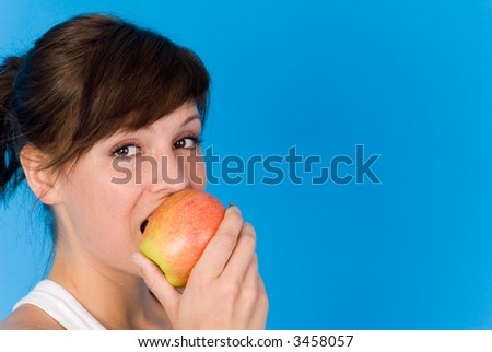delicous apple and a woman - stock photo