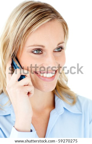 Delighted businesswoman talking on phone against white background
