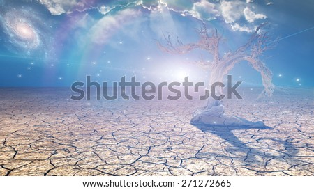 Delightful desert scene with light - stock photo
