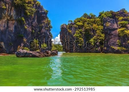 Delightful island-rock in the bay of Andaman Sea.  Beach Maya Bay on Phi Phi Island - stock photo