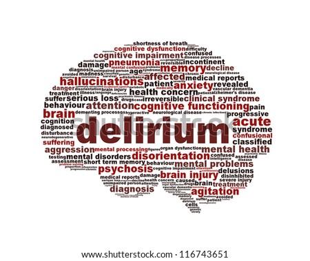 Delirium syndrome mental health icon design. Hallucinations symbol concept - stock photo