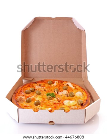 Delivered pizza on white - stock photo