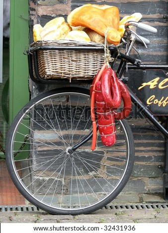 Delivery Bicycle outside cafe