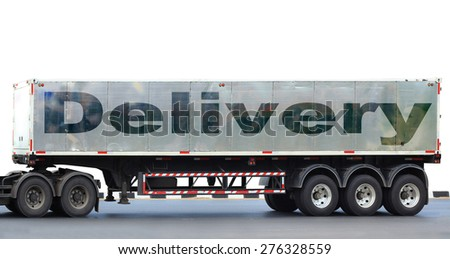 Delivery big truck on the asphalt road on white - stock photo