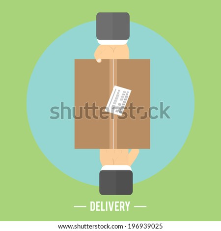 Delivery box and two hands. Delivery service 24 hours. Cargo truck symbol. Raster version - stock photo