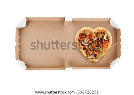 Delivery box with delicious pizza on white background.