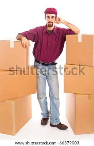 Delivery Boy with Boxes