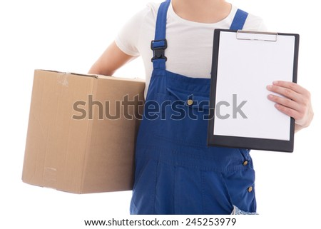delivery concept - cardboard box and clipboard with copy space in postman's hands isolated on white background - stock photo