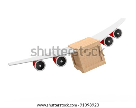 Delivery concept. 3D box with plane wings - stock photo