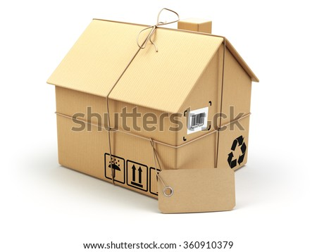 Delivery concept. Moving house.Real estate market.  Cardboard box as home isolated on white. 3d - stock photo