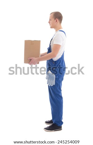 delivery concept - side view of man in workwear with cardboard box isolated on white background - stock photo