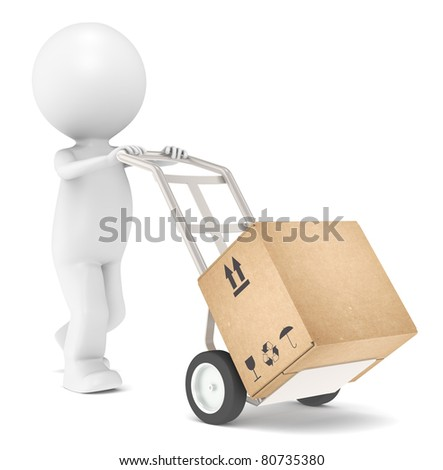 Delivery. 3D Little Human Character transporting a Box.