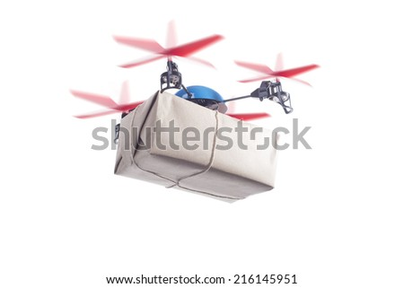 Delivery drone with packet flying. instant shipping concept, same day delivery - stock photo
