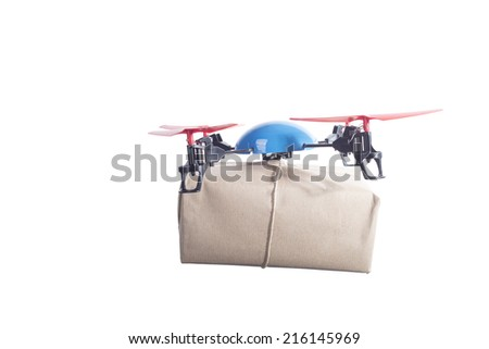 Delivery drone with post. instant shipping concept - stock photo