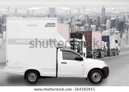 delivery express by container truck transport into the city  - stock photo