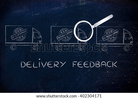 delivery feedback: trucks from different companies and magnifying glass analyzing them - stock photo
