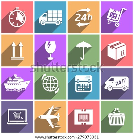 Delivery flat icons with long shadow - stock photo
