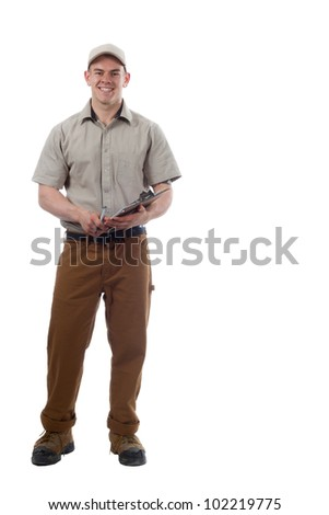 Delivery guy courier shipping containers - stock photo