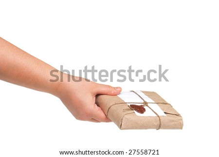 delivery hand with parcel isolated on white - stock photo