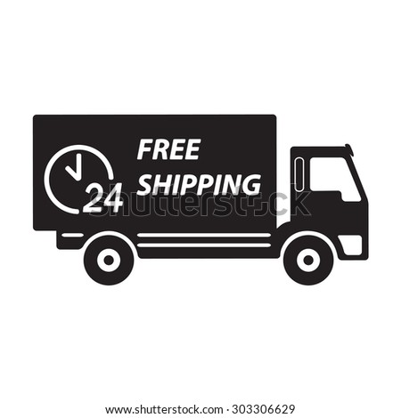Delivery icon or sign. Free shipping truck.