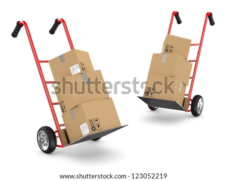 Delivery logistics  concept: Hand trucks and cardboard boxes. 3D model - stock photo