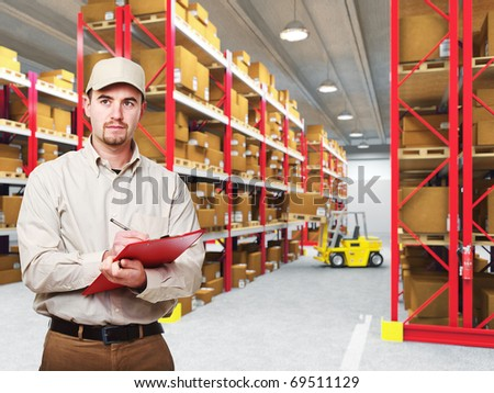 delivery man at work and 3d warehouse background - stock photo