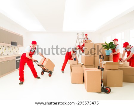 delivery man at work, delivering cargo to new house. digital composite image - stock photo