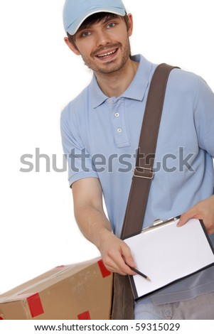 delivery man bringing package and holding out a clipboard - stock photo
