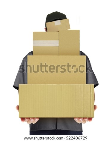Delivery man carry parcel boxes