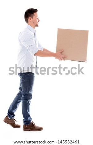 Delivery man carrying a box - isolated over a white background  - stock photo