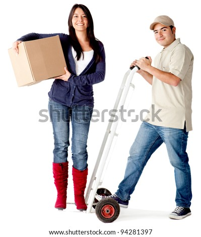 Delivery man carrying a woman in a trolley - isolated over a white background - stock photo