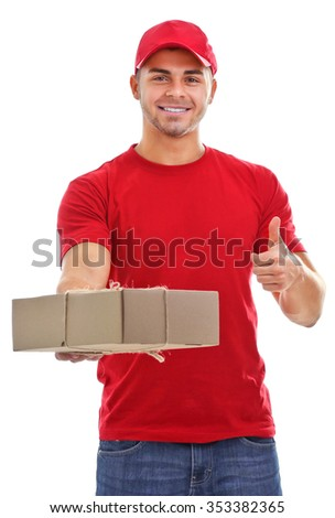 Delivery man in red uniform holding package isolated on white background