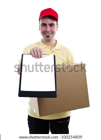 Delivery man in yellow polo and baseball hat with a parcel and a tablet isolated on white - stock photo